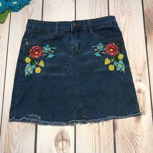 Hudson girl's floral denim skirt